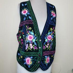 Vintage Rainbow Embroidered Floral Black Tie Vest
